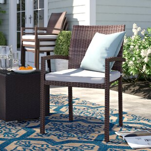 Brighton Stacking Wicker Patio Dining Chair with Cushion (Set of 4)
