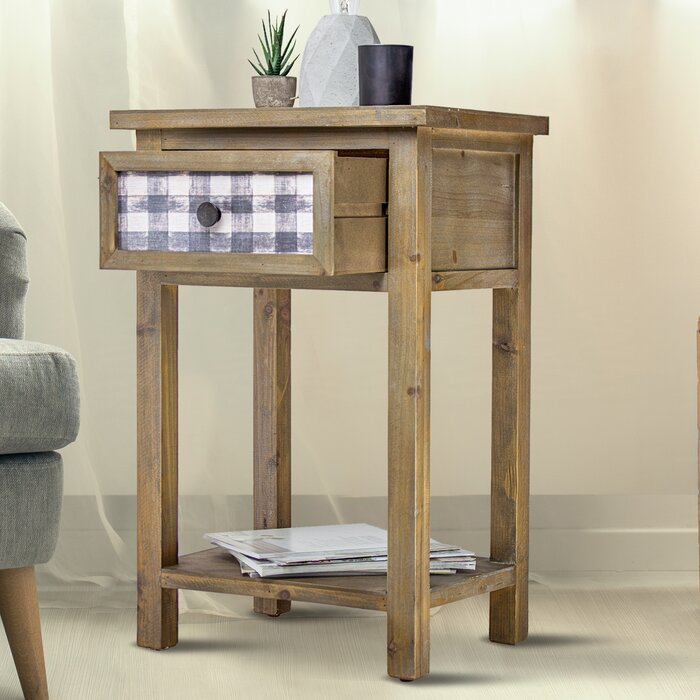 Delicia Décor Furniture Rustic Wooden Bedside End Table