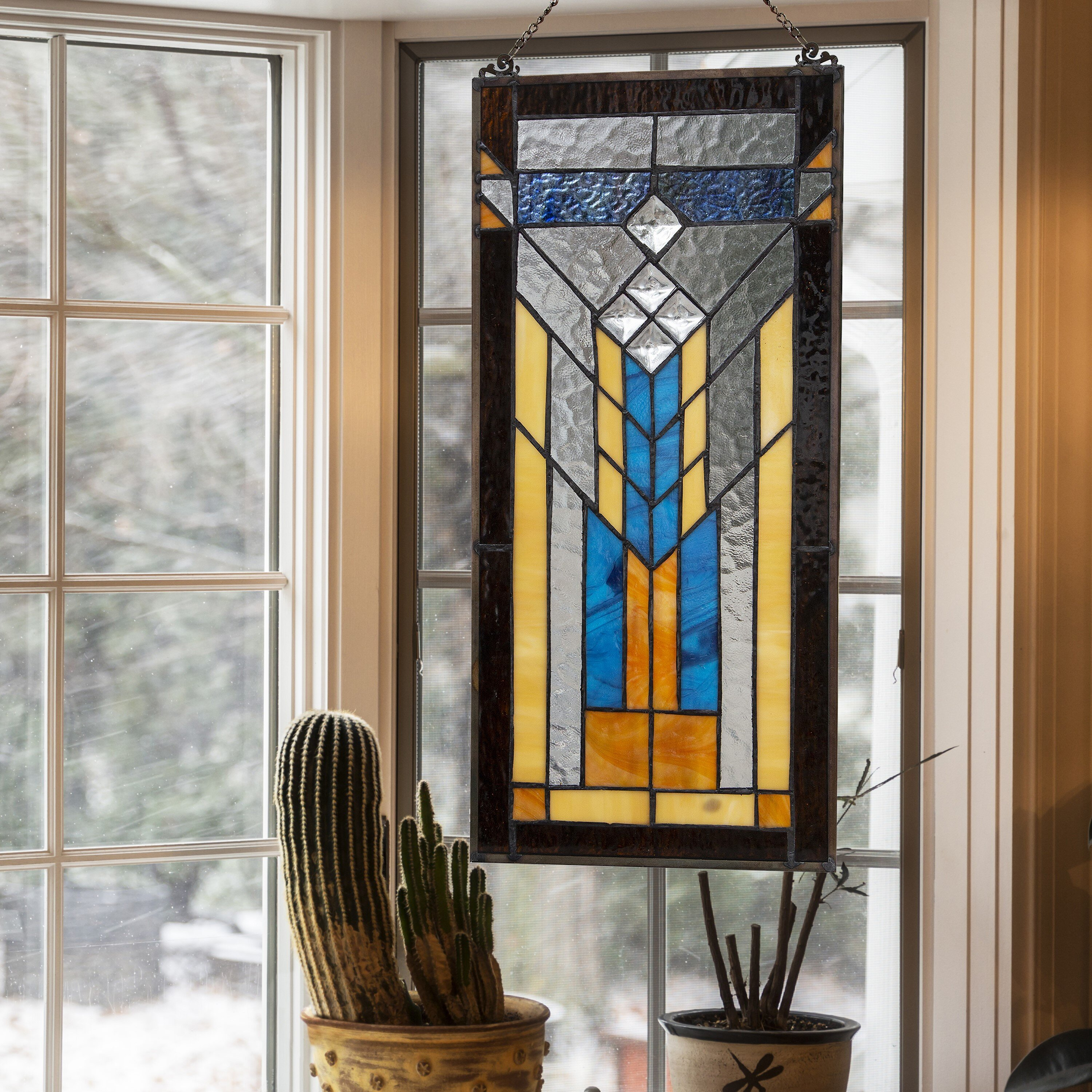 Brown Rectangular Shaped Stained Glass Panels You Ll Love In 2021 Wayfair