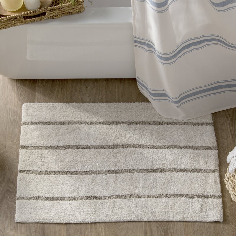 Caufield Cotton Tufted Striped Bath Rug