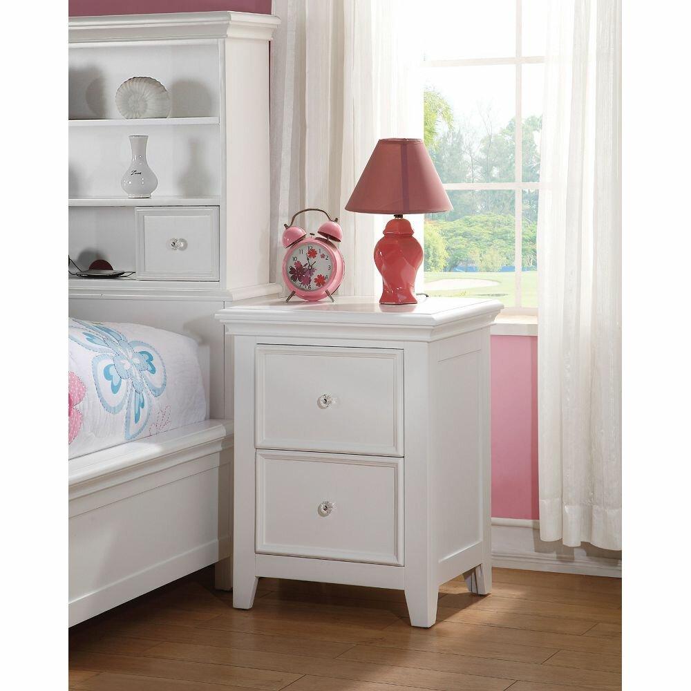Harriet Bee Emele 2 Drawer Solid Wood Nightstand In White Wayfair