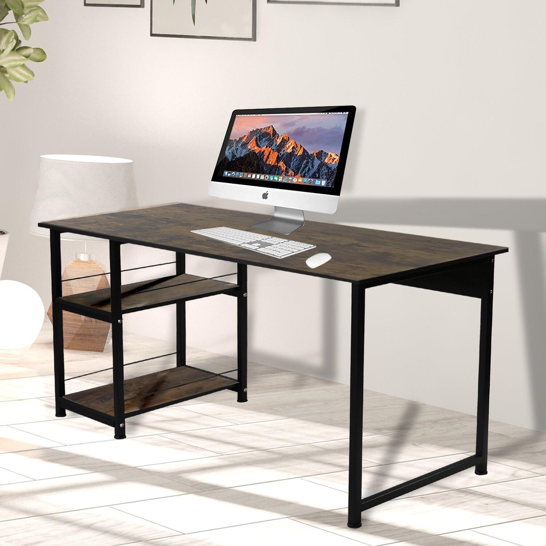 Inbox Zero Computer Desk Office Desk With Side 2 Tier Shelf Professional Wood Table Plain Desk Table Personal Work Station Lapdesk W Side Rack Rectangle Shape Steel Legs Desk For Livingroom Bedroom