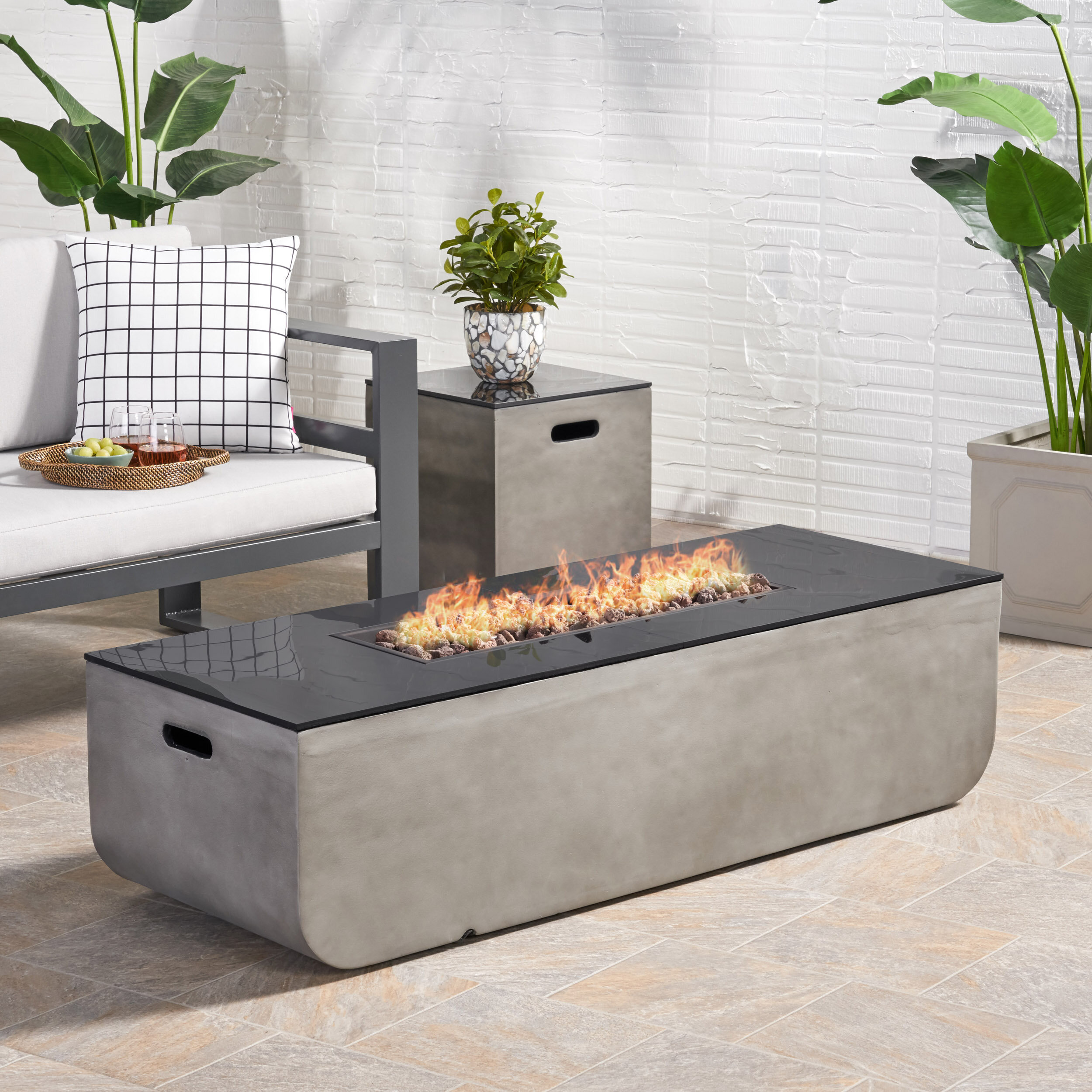 Image of: Luvana Outdoor With Tank Holder Concrete Propane Fire Pit Reviews Joss Main