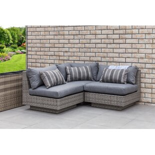 Herald Square Outdoor 3 Piece Rattan Sectional Set with Cushions