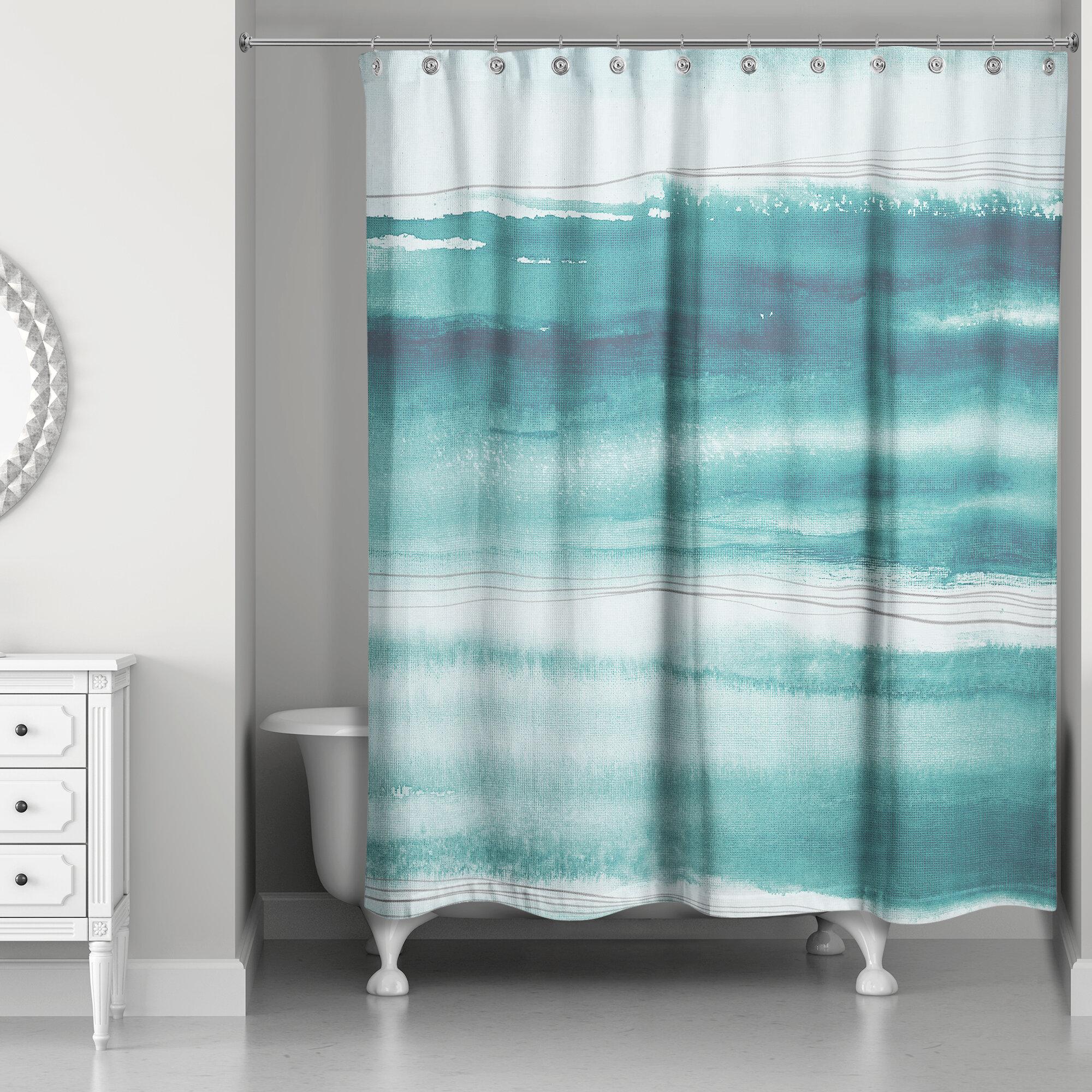 Highland Dunes Sherri Abstract Watercolor Ocean Single Shower Curtain Wayfair