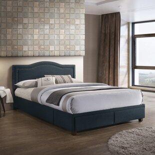PRI USB Charging Queen Upholstered Storage Platform Bed