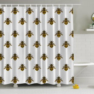 Honeybees Aligned Print Single Shower Curtain