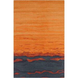 Saxon Hand Tufted Wool Orange/Blue Area Rug