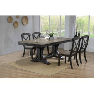 Gentle Double Pedestal Deco Transitional X-Back 5-Piece Solid Wood Dining Set Gracie Oaks