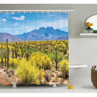 Bahraoui Photo Image Landscape of Desert Field of Cactus Stones Spikes Leaves Artwork Single Shower Curtain