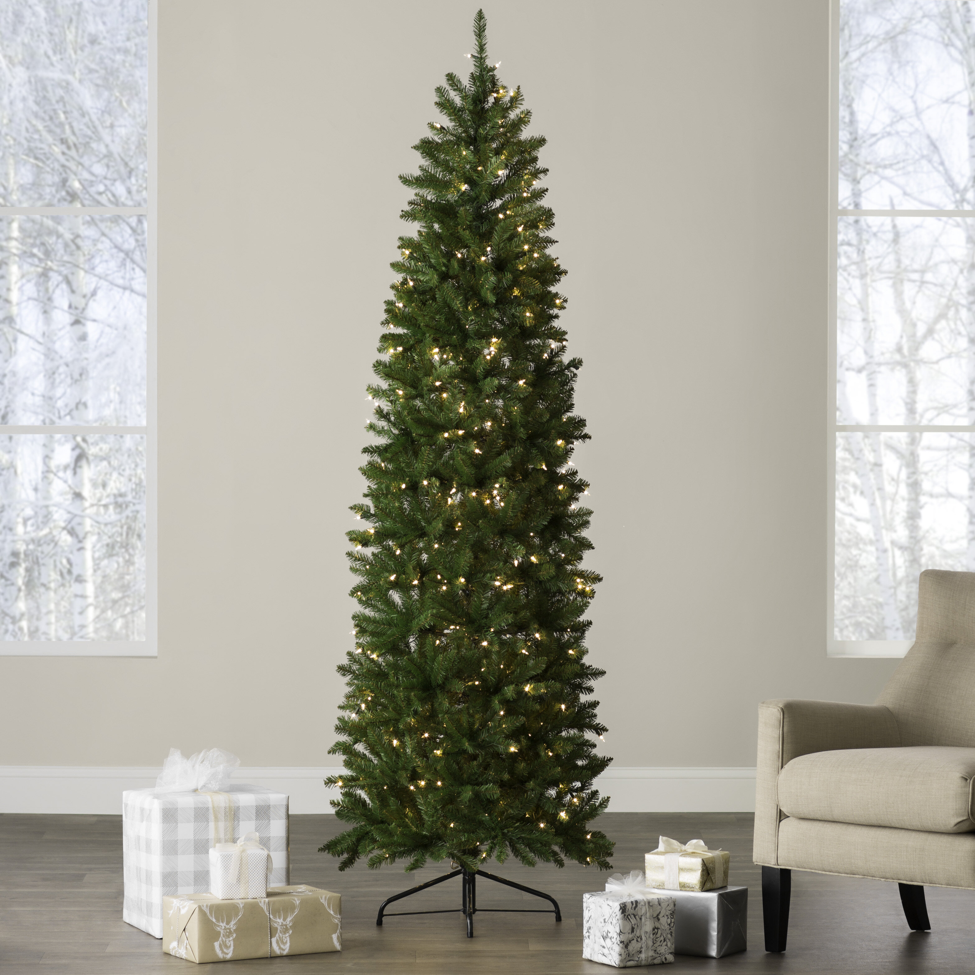 Andover Mills Pencil Green Fir Artificial Christmas Tree With 350 Clear White Lights Reviews Wayfair