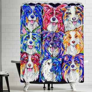 Eve Izzett Collies in Color Single Shower Curtain