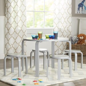 Anrey Kids 5 Piece Round Table And Stool Set