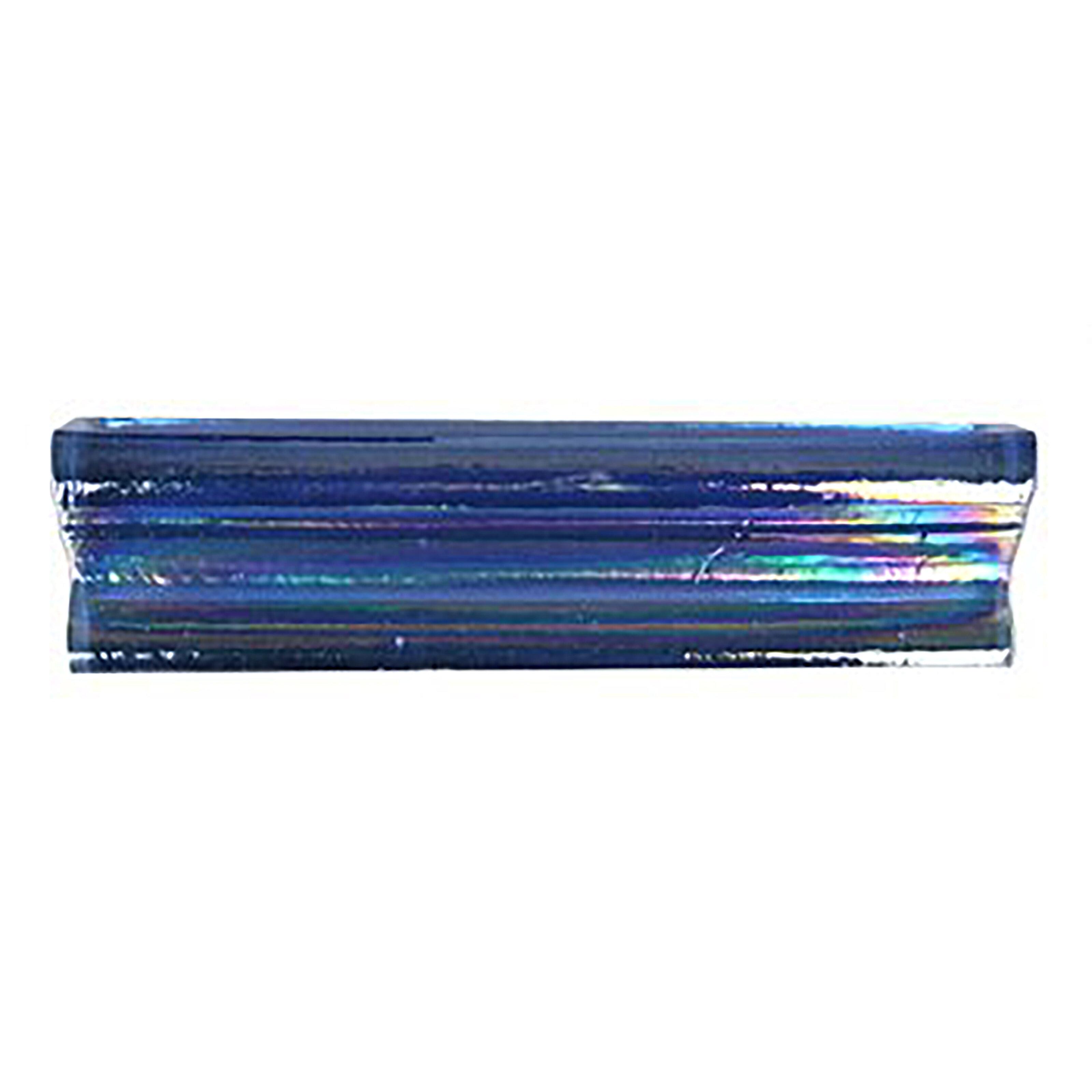 """Atmosphere 9"""" x 9"""" Glass Chair Rail Tile Trim in Sapphire"""