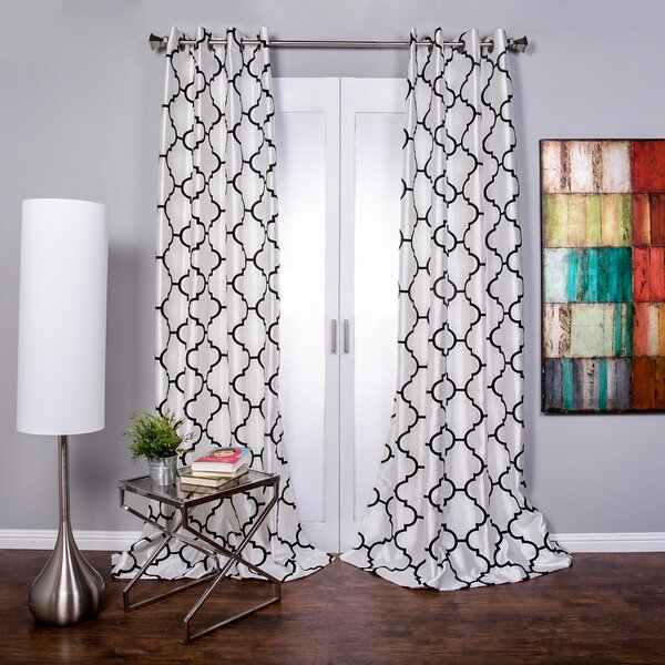 Black Gray Silver Geometric Flocked Squares Clear Sheer Fabric Shower Curtain