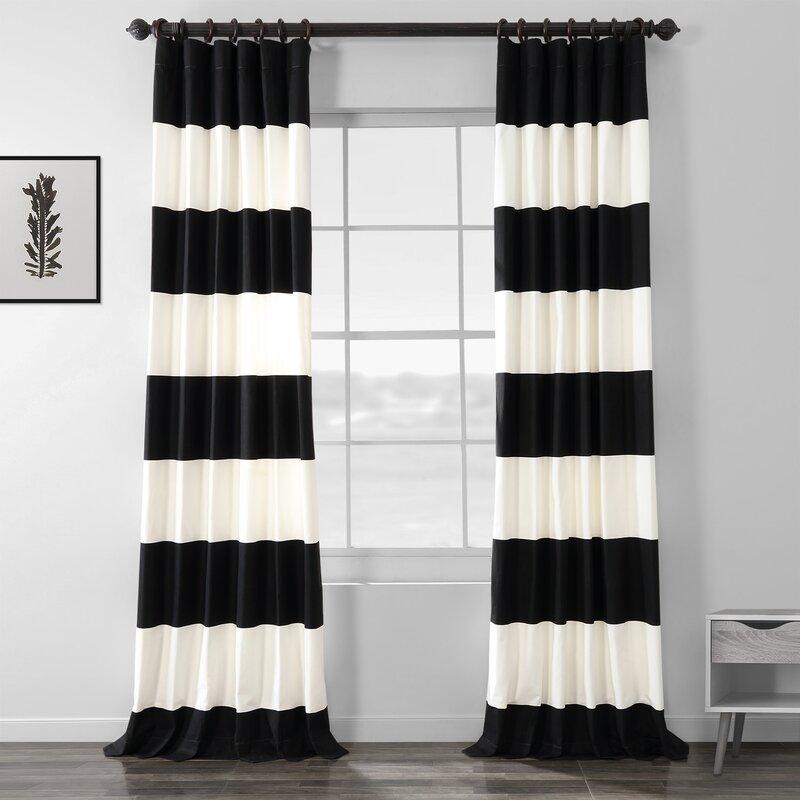 Longshore Tides Uinta 100 Cotton Striped Room Darkening Thermal Rod Pocket Single Curtain Panel Reviews Wayfair Ca