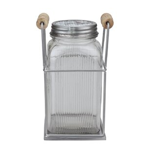 Tall Pressed Glass Jar with Metal Flower Frog and Wire Holder by Gracie Oaks