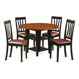Charlton Home Tyshawn 5 Piece Drop Leaf Breakfast Nook Dining Set