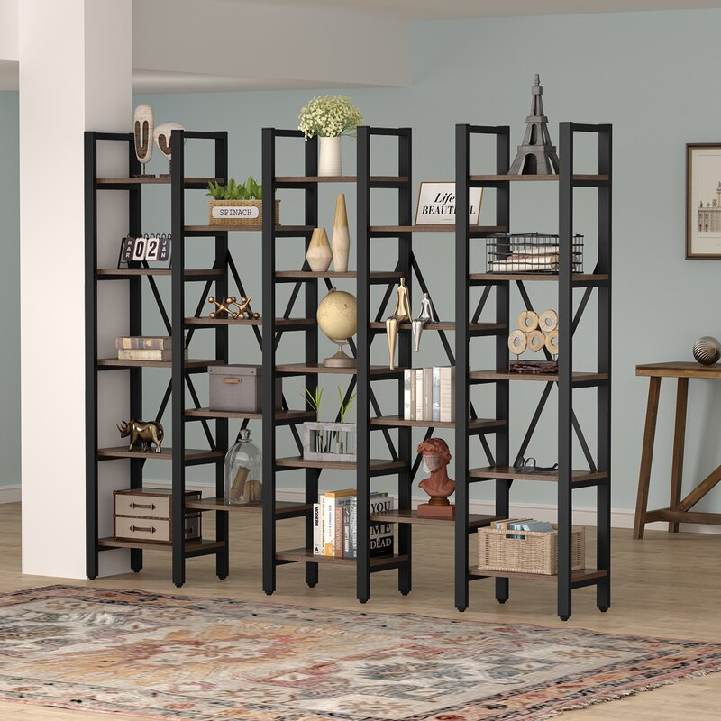 17 Stories SUNFLOWR Rustic Super Wide 86 Inch 5 Tier Bookcase With