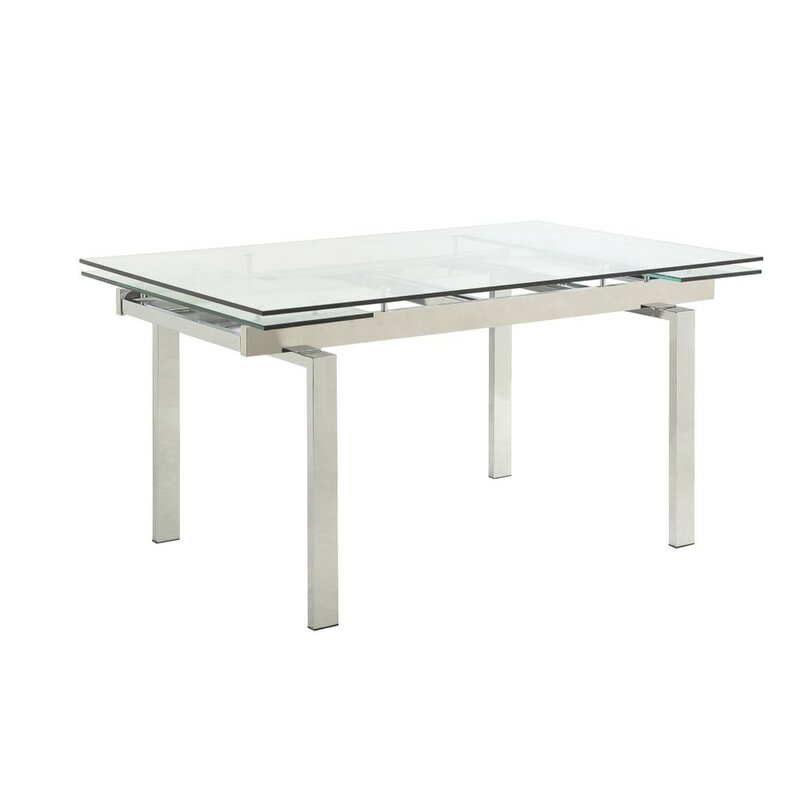 Orren Ellis Tiedeman Metal And Glass Contemporary Extendable Dining Table Wayfair