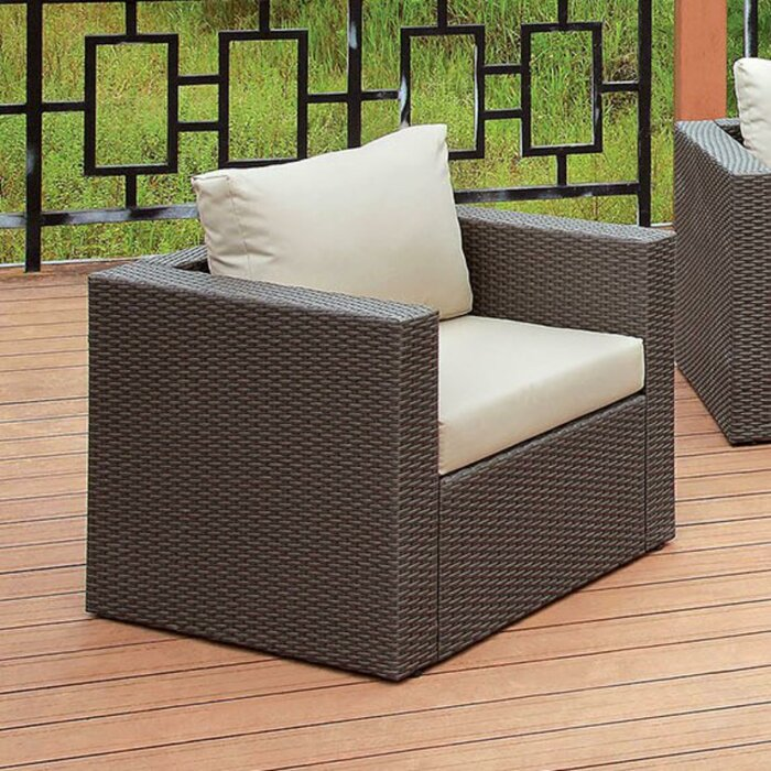 Superb Irvington Faux Rattan Patio Chair With Cushions Dailytribune Chair Design For Home Dailytribuneorg