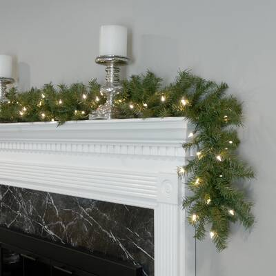 Decorated Christmas Garland With Battery Operated Led Lights