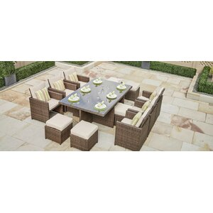 Frederica 11 Piece Dining Set with Cushion