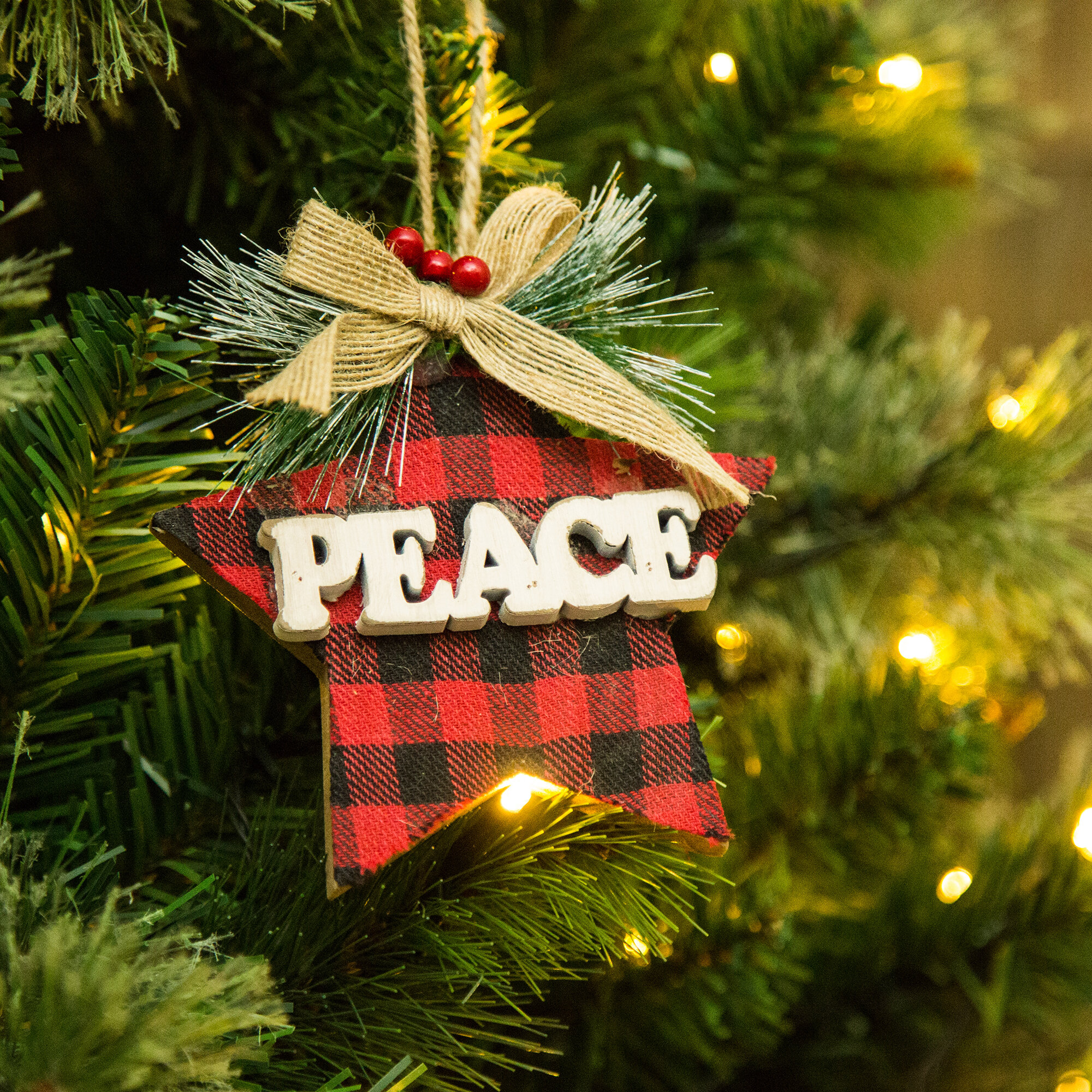 Peace Christmas Ornament.Peace Wooden Star Shaped Ornament