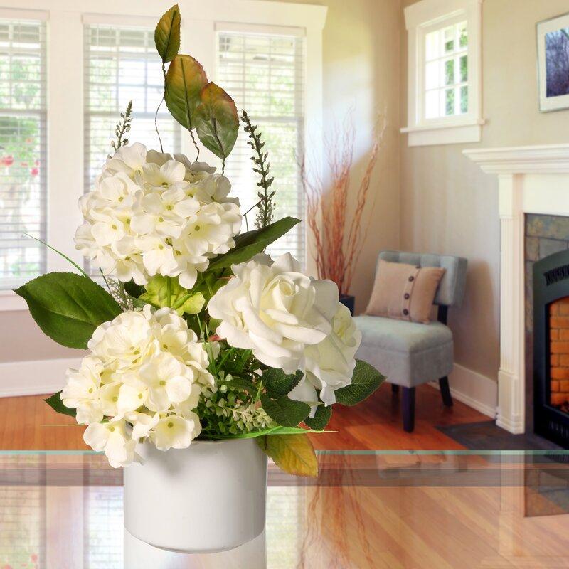 House Of Hampton Mixed Floral Arrangement In Pot Reviews Wayfair