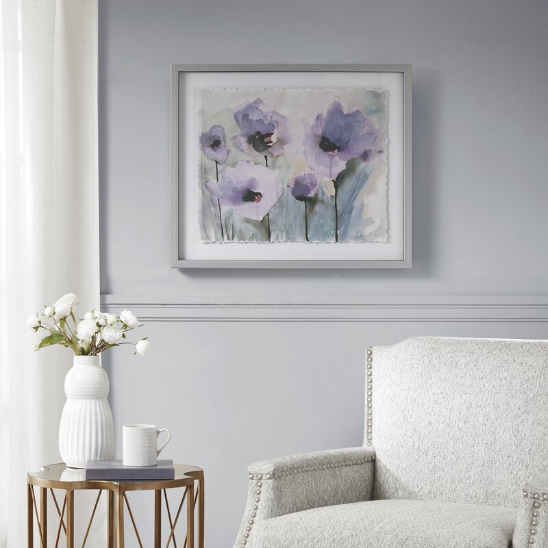 Glass Floral Art - 'Blooming Spring' Framed Graphic Art on Glass