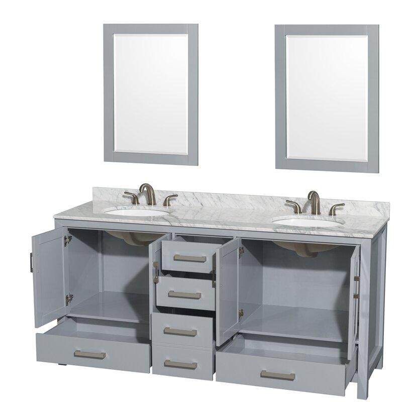 Brilliant Sheffield 72 Double Gray Bathroom Vanity Set With Mirror Interior Design Ideas Inesswwsoteloinfo