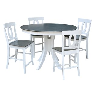 Round Fixed Top Pedestal Counter Height 5 Piece Pub Table Set