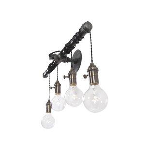 West Ninth Vintage Brass and Steel 4-Light Vanity Light