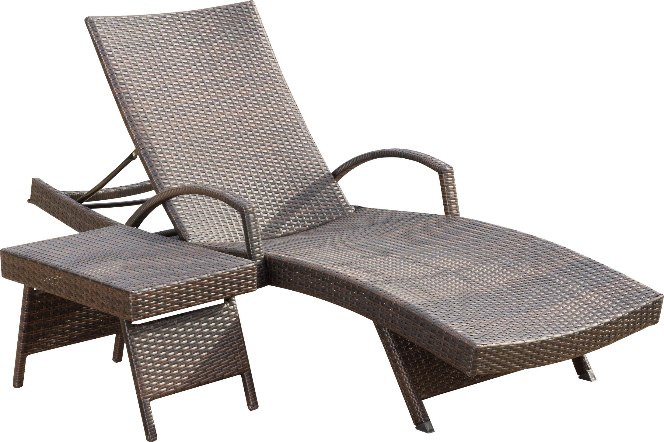 Rebello Adjustable Wicker Reclining Chaise Lounge With Table U0026 Reviews |  AllModern
