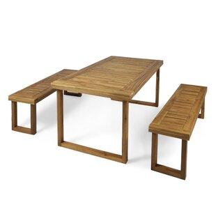 Union Rustic Kampmann Outdoor 3 Piece Dining Set