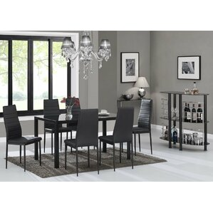 Rosenzweig 7 Piece Glass Top Dining Set (Set Of 7)