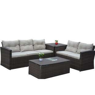 Kelton 4 Piece Rattan Sofa Seating Group with Cushions by Alcott Hill