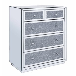 Addington Wood and Mirror 5 Drawer Accent Cabinet by Everly Quinn