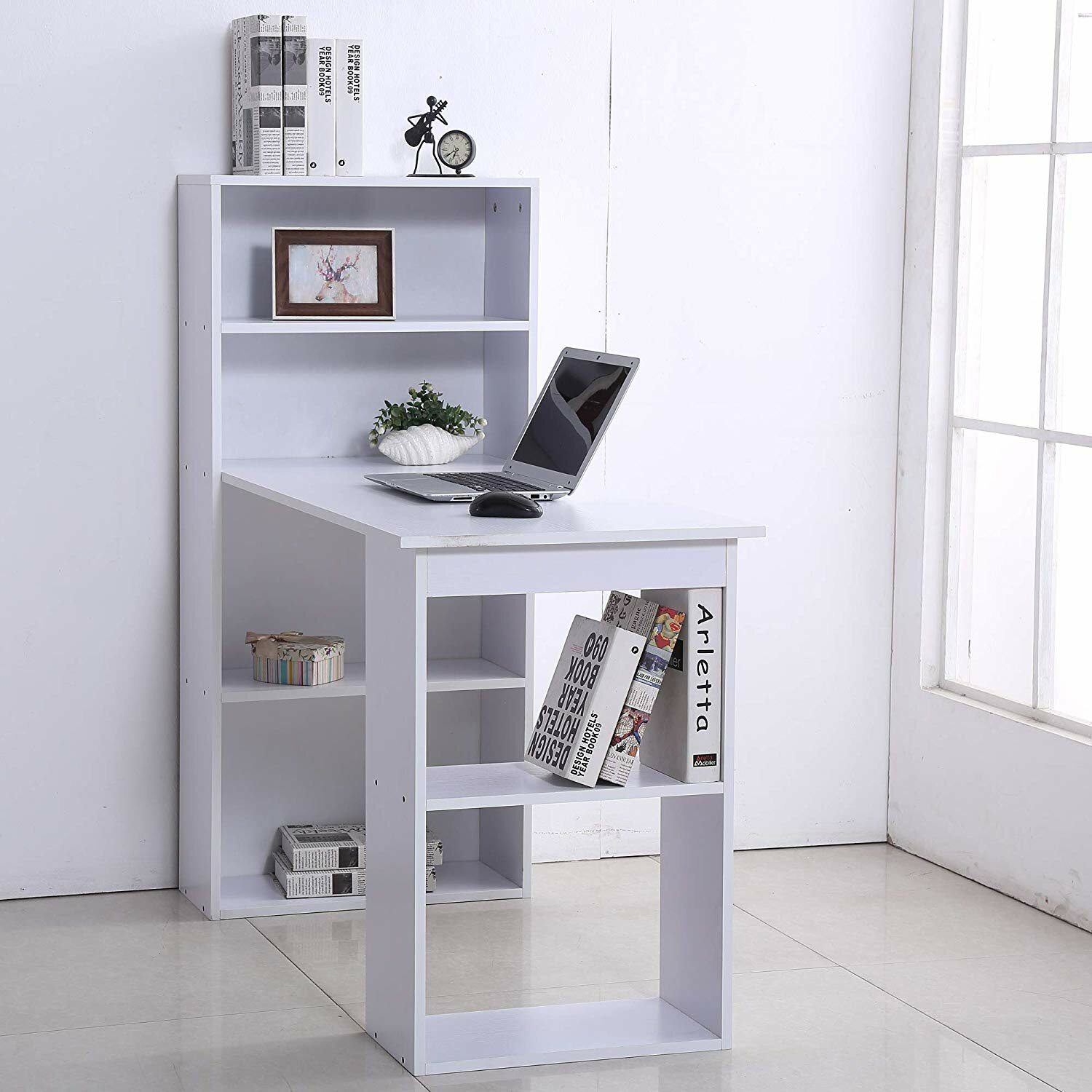 Ternes Computer Floating Desk with Hutch
