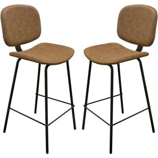 Trinity Leatherette Upholstered Metal Bar Stool (Set of 2) 17 Stories