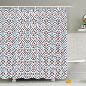 gray and orange shower curtain. Traditional House Turkish Ceramic Tulip with Cultural Ottoman Royal Lines  Design Shower Curtain Set Orange Curtains You ll Love Wayfair