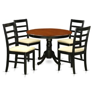 Travis 5 Piece Solid Wood Dining Set by August Grove