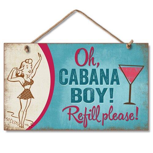Oh Cabana Boy Hanging Horizontal Wood Sign Wall Décor