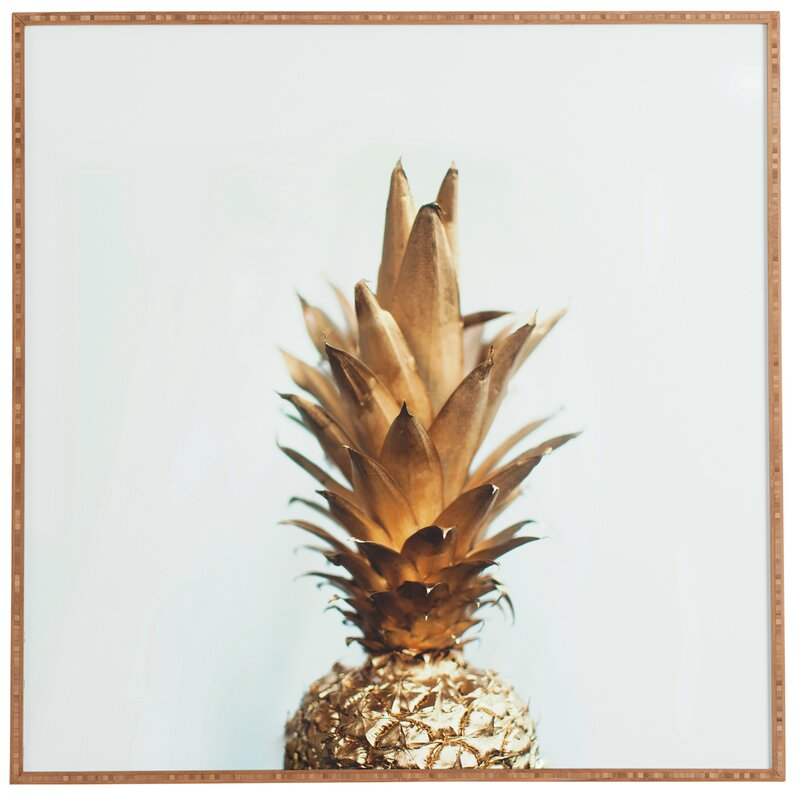 Beachcrest Home The Gold Pineapple Picture Frame Graphic Art Print On Wood Reviews Wayfair