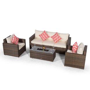 Villatoro Brown Rattan 3 Seat Sofa + 2 X Armchairs & Ice Bucket Rectangle Coffee Table, Outdoor Patio Garden Furniture By Sol 72 Outdoor