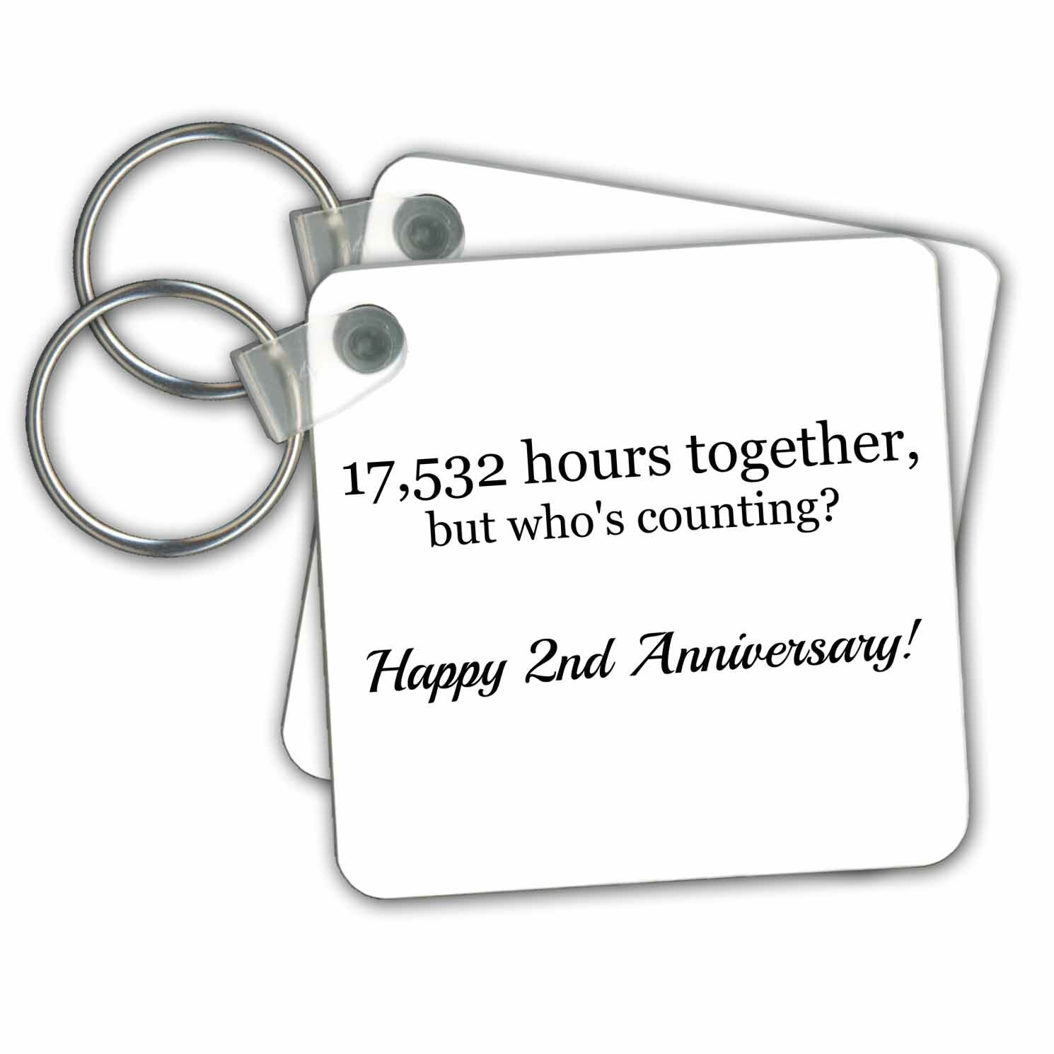 3drose Happy 2nd Anniversary 17532 Hours Together Key Chain Wayfair