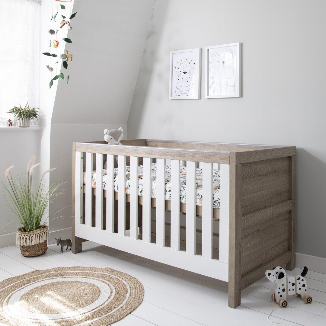 Modena Baby Cot Bed - White Oak