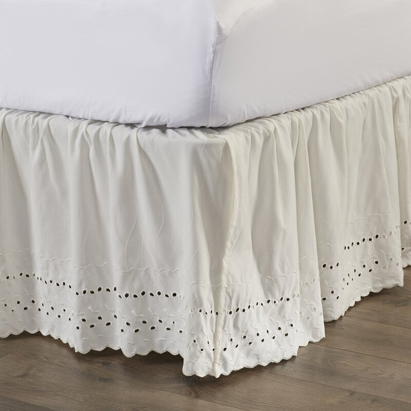 "Dakota Eyelet Extra Long 145 Thread Count 18"" Bed Skirt"