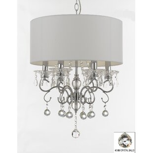 Hutto Faceted Crystal 6 Light Chandelier