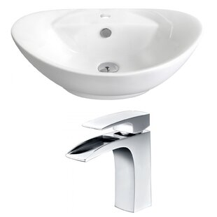 Royal Purple Bath Kitchen Above Counter Ceramic Oval Vessel Bathroom Sink with Faucet and Overflow